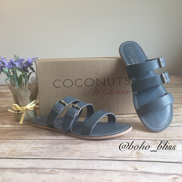 81e7ffc254c0 Blue Leather Flat Sandals Coconuts by Matisse